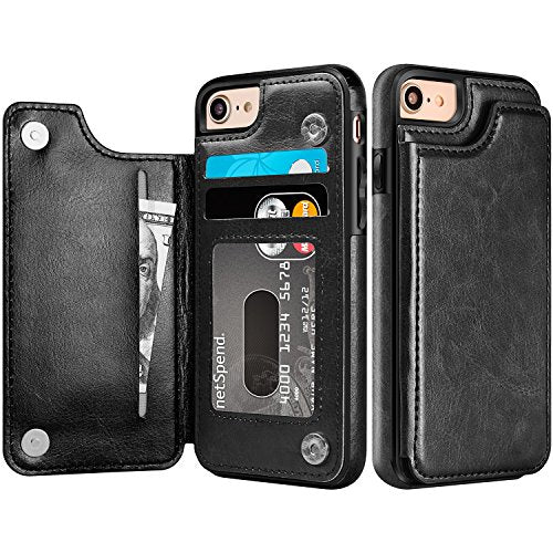 super popular ab3ec 2aae5 iPhone 7 Wallet Case, iPhone 8 Wallet Case, Protective iPhone 7/8 Card  Holder Case with Kickstand Credit Card Slot, Leather Cover for Apple iPhone  7/8 ...