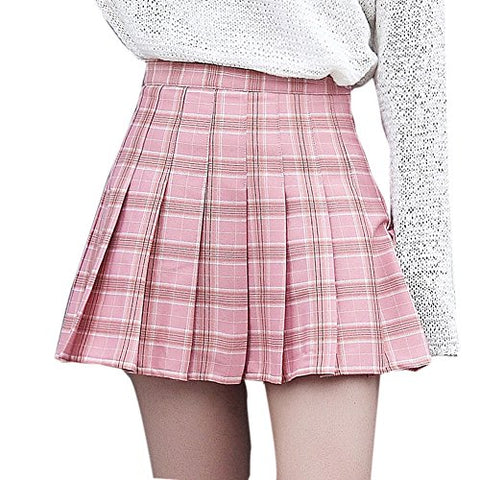 TRFAEE Women's Sexy High Waist Tartan Pleated Short Mini Skirt