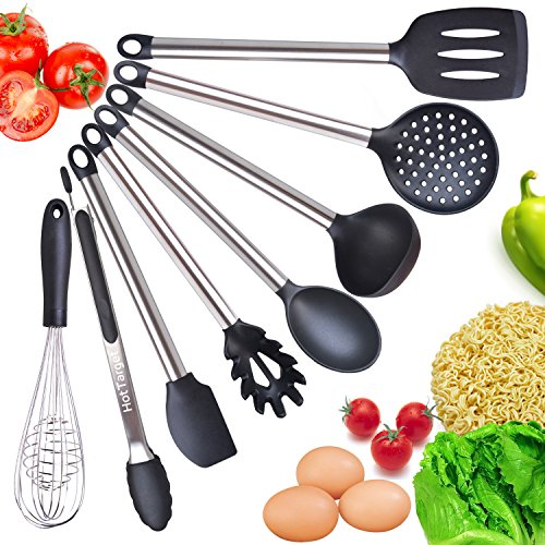 Cooking Utensil Set- 8 Best Kitchen Utensils- Silicone & Stainless Steel  Kit - Serving Tongs, Spoon, Spatula Tools, Pasta Server, Ladle, Strainer,  ...