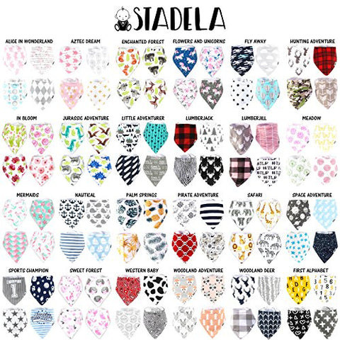 Stadela Baby Adjustable Bandana Drool Bibs for Drooling and Teething Nursery Burp Cloths 4 Pack Unisex Baby Shower Gift Set for Girl and Boy – Safari Africa Jungle Animal Elephant Giraffe Lion Zebra