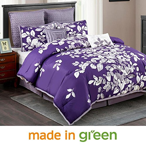 "Wonder-Home 8-pc. Elegant Purple Comforter Set, Oversized Natural Leaf Printed Microfiber Bedding Set, Polyester Overfilled, Medium Weight, King, 106""x96"""