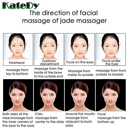 2 Pack Jade Face Massager Facial Roller for the  Face,Forehead,Eyes,Lip,Neck,KateDy Massage Rollers Weight Loss Tools Royal  Jade Stone Cooling Messager