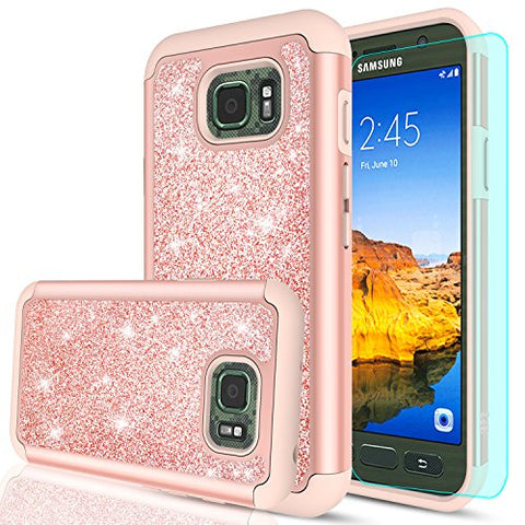 Galaxy S7 Active Case with HD Screen Protector,LeYi Glitter Cute Girls Women Design [PC Silicone Leather] Dual Layer Hybrid Heavy Duty Protective Phone Case for Samsung S7 Active SM-G891A TP Rose Gold