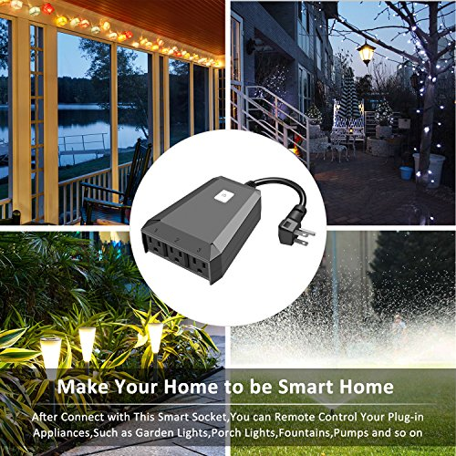 Outdoor Smart Plug Compatible with Alexa Amazon [Echo,Echo Dot] and Google  Home,Wifi Remote Control Outlet with 3 Sockets by Phone APP,Wireless