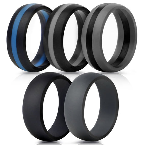 Saco Band Silicone Wedding Rings - Middle Line & Plain