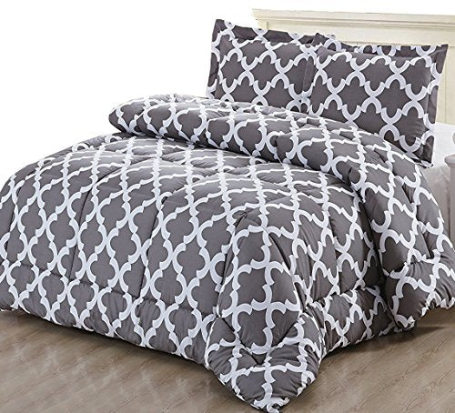 Utopia Bedding Printed Comforter Set (Grey, Queen) with 2 Pillow Shams - Luxurious Soft Brushed Microfiber - Goose Down Alternative Comforter - by