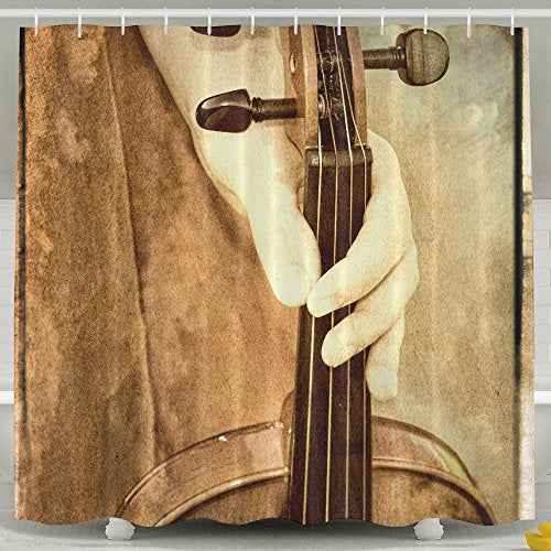 ZiXia A Vintage Looking Photograph Of A Female Holding A Violin With A Flowing Dress And Textured Bathroom Decor White Shower Curtains 6072inch Polyester Artwork Print