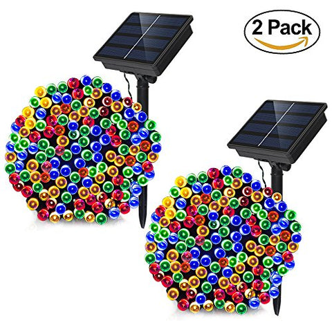 Solar Powered String Lights - Dolucky 72 ft 200 LED Solar Fairy Lights, Waterproof Christmas String Lights for Outdoor Garden Party Wedding Decoration (Multicolor, 2 Pack)