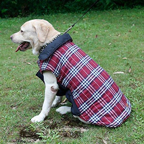 Ridsmc Plaid Winter Dog Coats Dog Puppy Winter Jacket Dog Clothes For Dog Large Dog Clothes For Women SIze XXL Red