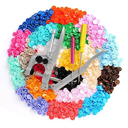 350 PCs 25 Colors Snaps & Snap Press Pliers No-Sew Buttons Fastener Setter  Installation Punch for Bibs Cloth Diapers Clo