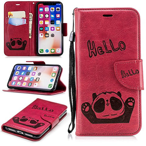iPhone X Case (5.8-inch), iPhoneX Cover [Wrist Strap], MerKuyom [Kickstand] Premium PU Leather Wallet Pouch Folio Magnetic Flip Flap Cover Case For Apple iPhone X (Hello Panda - Red)