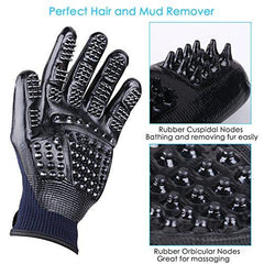 ENJOY PET Grooming Glove Hair Removal Mitt, Work as Deshedding, Bathing, Massaging Glove Brush, Effective for Long and Short Hair Dogs, Cats, Horse (One Pair)