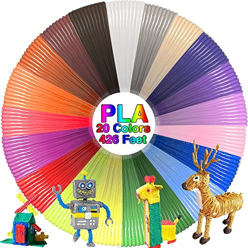 3D Pen Filament Refills-1.75mm-Pack Of 20 Colors-21 Feet Each-420 Feet Total Nontoxic Compatible With Most 3D Pens Diy Material Tools
