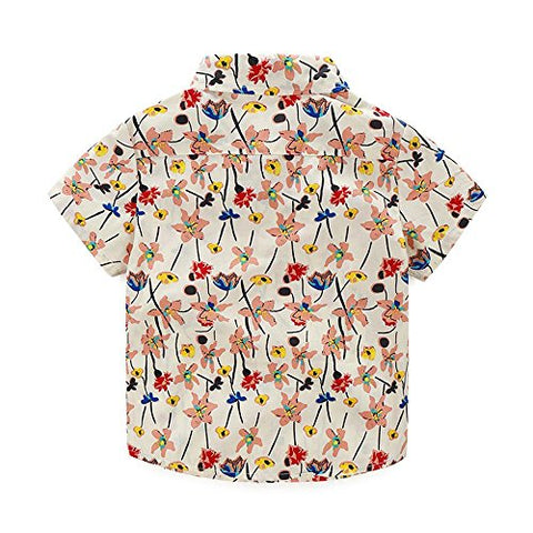Kimocat Boy Casual Clothing Set Beige Prints Button-Down Shirt Short Sleeve+White Pants(2T, Beige)