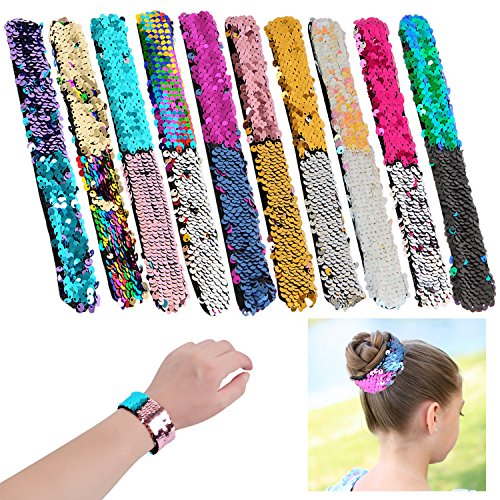 YUEAON slap bracelets party favors for kids,Magic Sequins bracelet bands for party supplies boys girls gift 10 pack