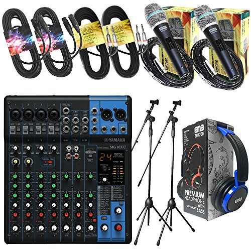 "Yamaha Package Bundle - Yamaha MG10XU 10-channel Analog Mixer + EMB EBH700 Pro Preminum Wire Headphone + 2 EMB Emic800 Microphones + 2 XLR XLarge Cables + 2 1/4"" To 1/4"" Cable + 2 Microphone Stands"