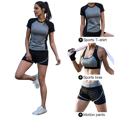BothMeetYuan Women's Fitness Running Sports Yoga Suits 3-Pieces T Shirts+Bra+Shorts Set Athletic Tracksuit Outfit