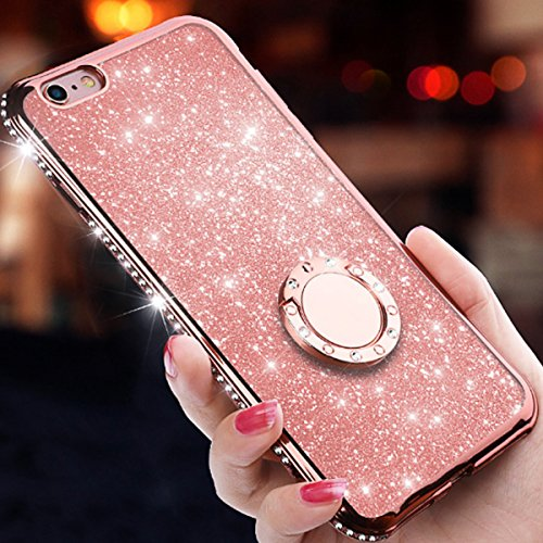 Iphone 8 Plus Case Iphone 7 Plus Casewatache Glitter Cute Phone Case Girls With Kickstand Bling Diamond Rhinestone Bumper Ring Stand Protective