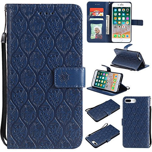 iPhone 8 Plus Case, iPhone 7 Plus Case, EST Premium Vegan Leather Elegant Rattan Flower Floral Pattern Slim Flip Stand Wallet Case with Wrist Strap for Apple iPhone 8 Plus / iPhone 7 Plus, Dark Blue