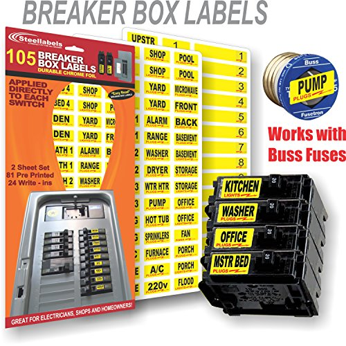 circuit breaker decals - 105 tough vinyl labels for breaker boxes - great  for home or