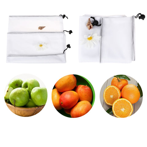 6Pcs/Set Polyester Toys Mesh Pouch Kitchen Fruit & Vegetable Storage Bags Reusable Black Rope Mesh Bags Shopping Bag
