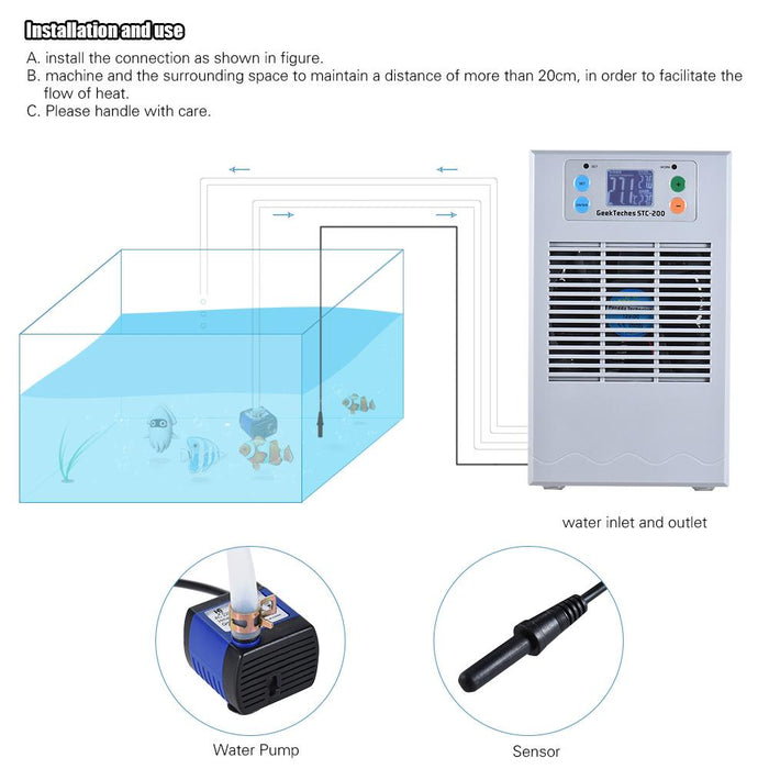 70W/100W Aquarium Thermostat Cooling Machine Semi-conductor Aquarium Heater  Controller with 3W Water Pump for 20L/35L Water Tank