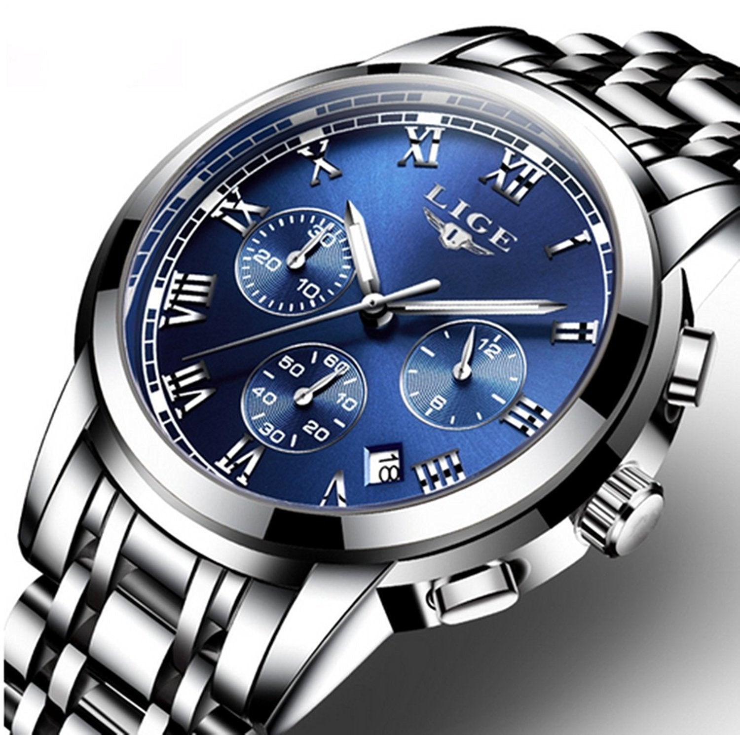 Watch,Mens Watches,Mens Luxury Fashion Stainless Steel Waterproof Chronograph Quartz Analog Wrist Watch
