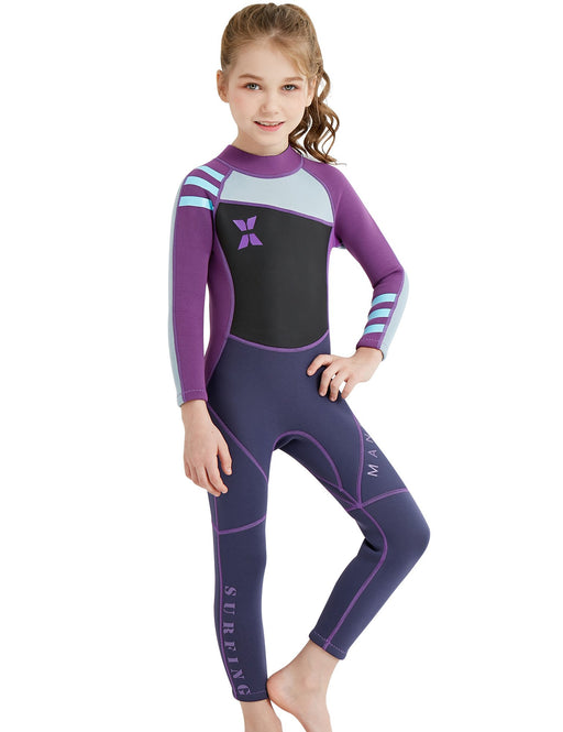 DIVE & SAIL 2.5mm Neoprene Wetsuit Long Sleeve Pants One Piece Swimsuit For Kids