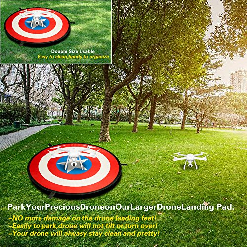 "GENTHIK 30"" Universal Drone Landing Pad Launch Pad - American Flag Element Landing Pad for RC Drones Helicopter, DJI Mavic Pro, Phantom 2/3/4/4 Pro, Inspire 2/1, Antel Robotic & More"