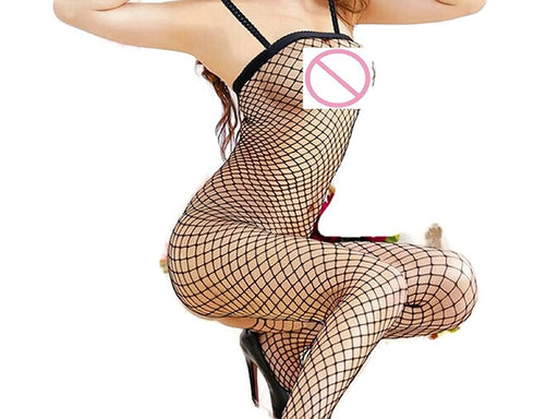f562dd1ff6e Hot Sale! Free Size exotic Lingerie women Spandex Open Crotch Mesh  Bodystockings Fishnet Thigh High