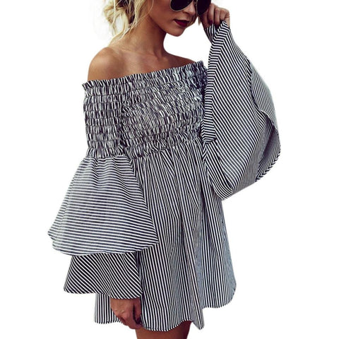 Women Dress,IEason Hot Sale! Womens Holiday Off Shoulder StripeParty Ladies Casual Dress Long Sleeve Dress