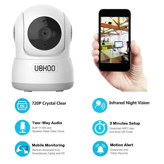 Wireless Security Camera, UOKOO 720P HD Home WiFi Wireless IP Security  Surveillance Camera System with Motion Detection Pan/Tilt, 2 Way Audio and