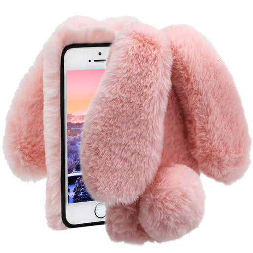 Soft Case for iPhone 6S Plus,Diamond Crystal Furry Cover for iPhone 6 Plus,Herzzer Luxury Cartoon Rabbit Ear Design Fluffy Hairy Silicone Rubber Protective Case