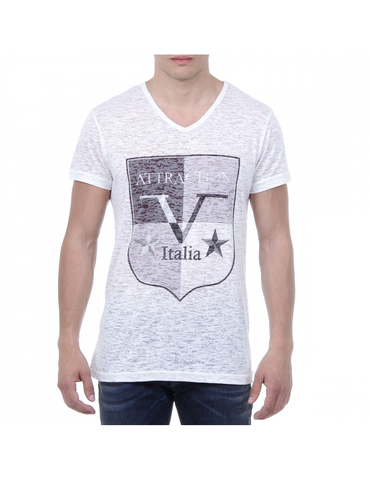 V 1969 Italia Mens T-shirt Short Sleeves V-Neck White ALEXANDER: V 1969 Italia Mens T-shirt Short Sleeves V-Neck White ALEXANDER White S