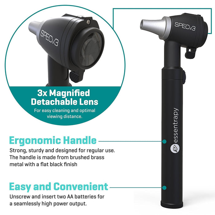 SPECv3 Fiber Optic LED Otoscope - Physician Approved Ear Care Professional  Home Medical Diagnostic Set Adult & Child 15 x Reusable Specula Hard ABS