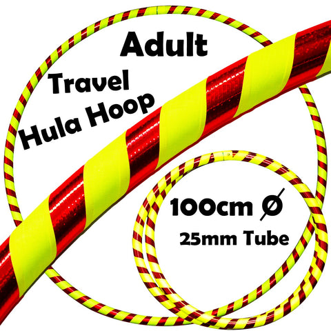 PRO Hula Hoops (Ultra-Grip/Glitter Deco) Weighted TRAVEL Hula Hoop (100cm/39') Hula Hoops For Exercise, Dance & Fitness! (640g) NO Instructions Needed - Same Day Dispatch.! (UV Yellow / Red Glitter)
