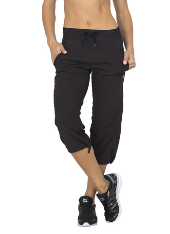 RBX Active Women's Lightweight Body Skimming Drawstring Woven Capri Pant