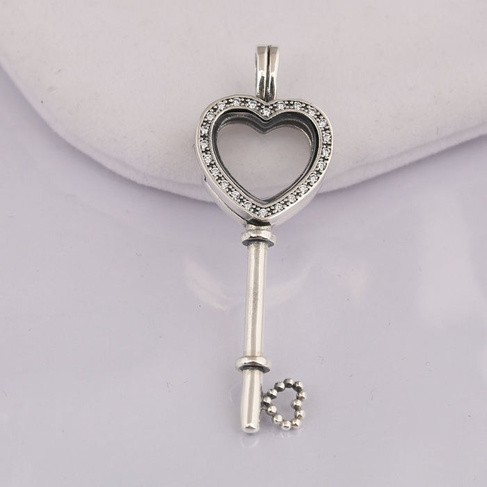 3092cc17d 925 Silver Floating Locket Heart Key Necklace for Women Pave Crystal &  Clear CZ Silver