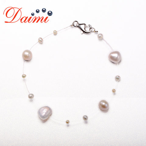 925 Sterling Silver Bracelet Floating Pearl Bracelet Transparent Fishing Line Cultured Pearl Jewelry for Women