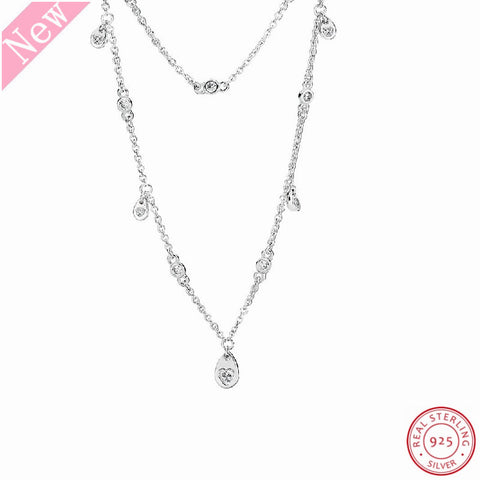 925 Sterling Silver Chandelier Droplets 45cm Adjustable Long Necklaces for Women Jewelry Combine Two Chains With Clear CZ FLN060