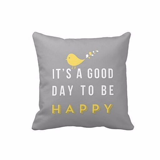 IT'S A GOOD DAY TO BE HAPPY-Yellow Bird Letter Cushion Cover Nordic Style Grey Square Throw Pillow Case