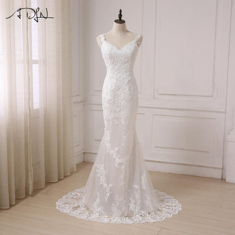 ADLN Sexy Mermaid Wedding Dress V-neck Open Back Fashion Lace White/ Ivory Bridal Gowns Sweep Train Vestido De Noiva In Stock