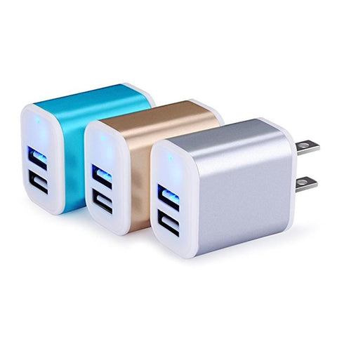 AILKIN Wall Charger USB 2.1A Universal Travel Fast Dual Port Charger Cubes for iPhone 7 6 Plus Samsung Galaxy iPad Tablet