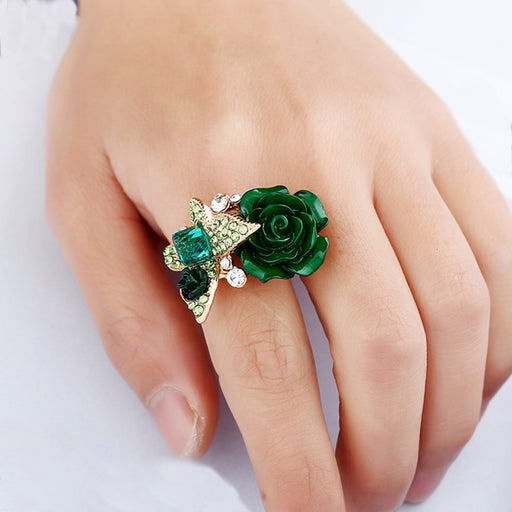 AINAMEISI 2017 Wholesale Jewelry Shiny Multi-Color Flower Engagement Rings Beautiful Butterfly Rings For Women Gold