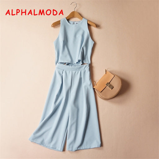 ALPHALMODA Wide Leg Pants Suit Office Lady Summer Sleeveless Jacket Calf Length Trousers Fashion 2pcs Sets for Women