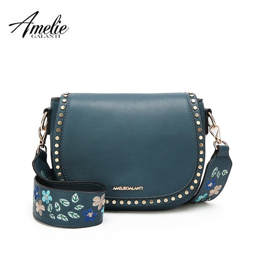 AMELIE GALANTI Small Women Bag Shoulder Crossbody Bags for Women Saddle  Purse Embroidered with Rivet Long f3eb348f658ec