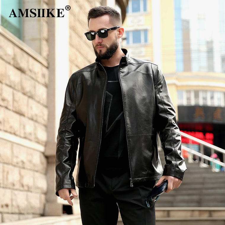 AMSIIKE Men Jacket Genuine Leather Sheepskin Coats 2017 Autumn Slim Classic Black Male Outerwear Real Leather Jackets A8279