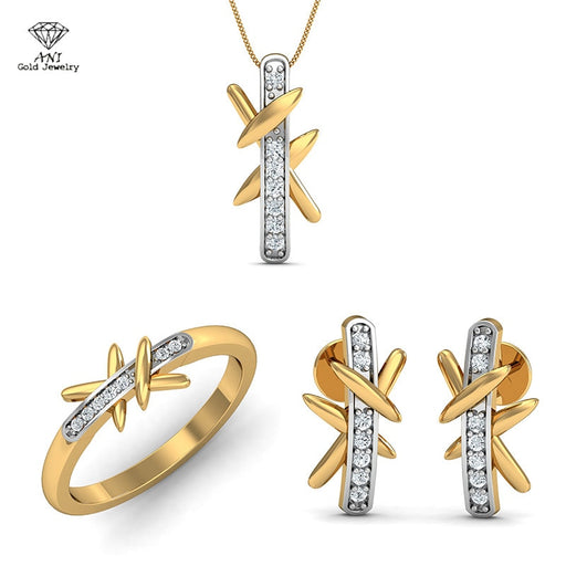 ANI 18K White Yellow Gold (AU750) Women Engagement Bridal Jewelry Set Natural Diamond Ring Necklace Wedding Pendants Earrings