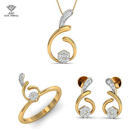 ANI 18K White Yellow Gold (AU750) Women Engagement Bridal Jewelry Set Wedding Natural Diamond Ring Necklace Pendants Earrings