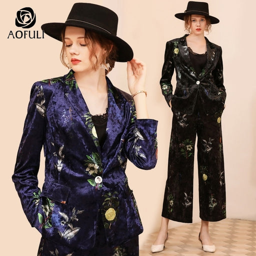 AOFULI Vintage Floral Print Velvet Pant Suit Winter Plus Size Pantsuit Women 2 Piece Set Wide Leg Pants Outfit L- 4XL 5XL A3754